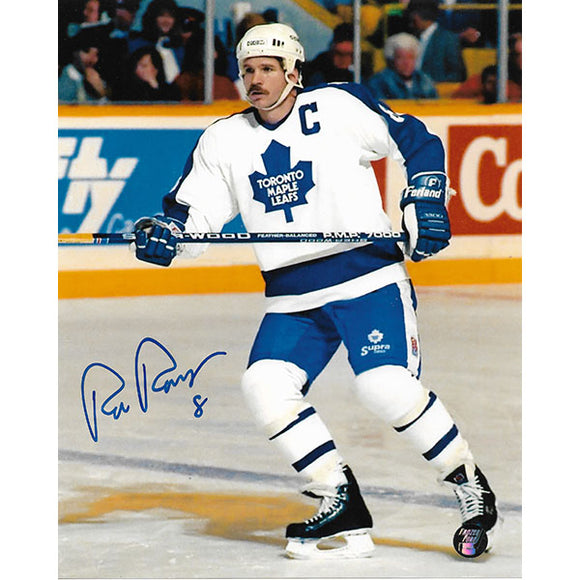 Rob Ramage Autographed Toronto Maple Leafs 8X10 Photo (White Jersey)