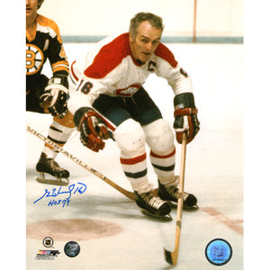 Henri Richard (deceased) Autographed Montreal Canadiens 8X10 Photo (vs. Boston)