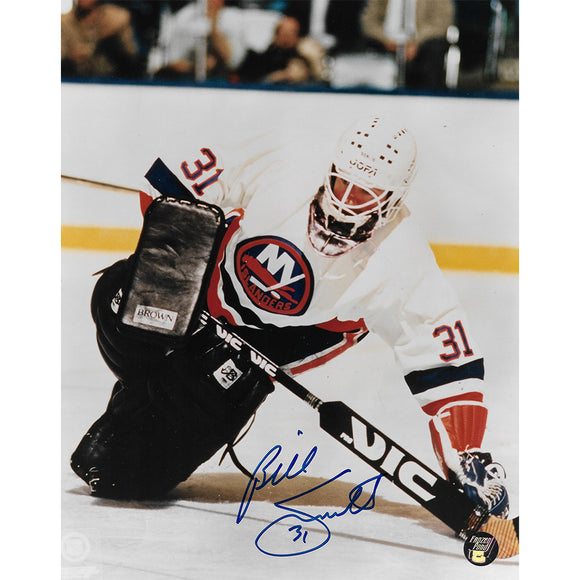 Billy Smith Autographed New York Islanders 8X10 Photo (Diving)