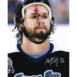 Martin St. Louis Autographed Tampa Bay Lightning 8X10 Photo (Blood)