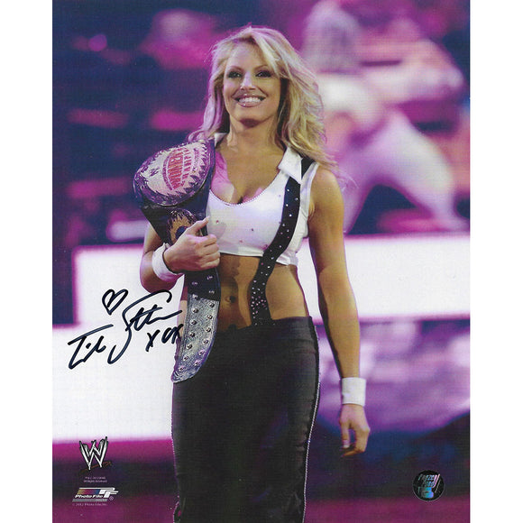 Trish Stratus Autographed 8X10 Photo (w/belt)