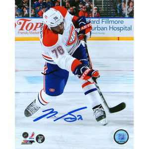 P.K. Subban Autographed Montreal Canadiens 8X10 Photo (White Jersey)
