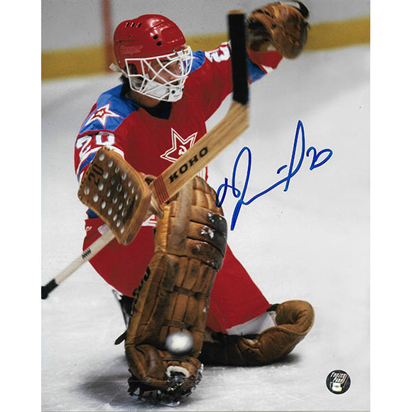 Vladislav Tretiak Autographed CCCP 8X10 Photo (Kick Save)