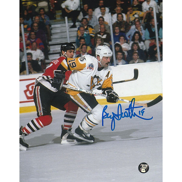 Bryan Trottier Autographed Pittsburgh Penguins 8X10 Photo (w/Chelios)