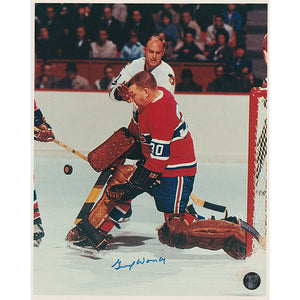 Gump Worsley (deceased) Autographed Montreal Canadiens 8X10 Photo (vs. Chicago)