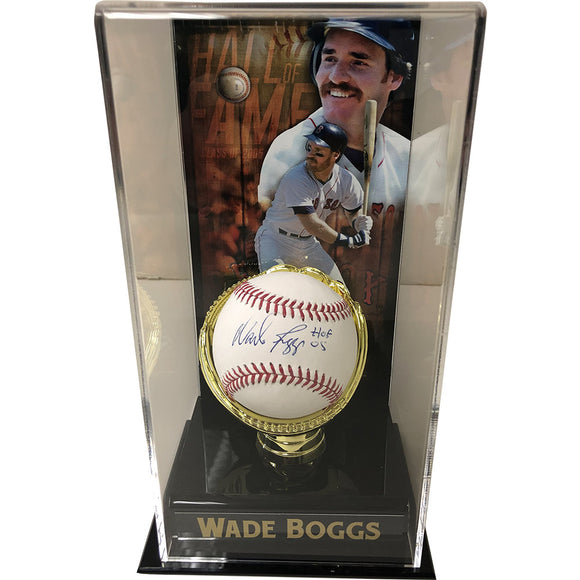 Wade Boggs Autographed Baseball w/Display Case