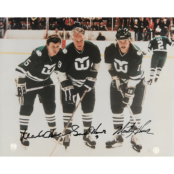 Gordie, Marty, and Mark Howe Autographed Hartford Whalers 8X10 Photo (Color)