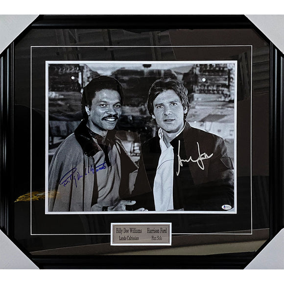 Billy Dee Williams/Harrison Ford Framed Autographed Star Wars 16X20 Photo