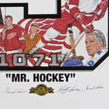 Gordie Howe 50th Anniversary Lithograph (26X39) Signed by Gordie, Mark, and Marty Howe