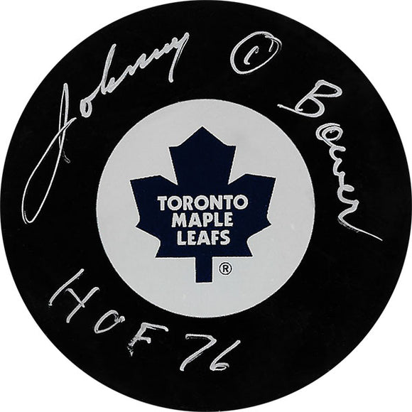 Johnny Bower (deceased) Autographed Toronto Maple Leafs Puck