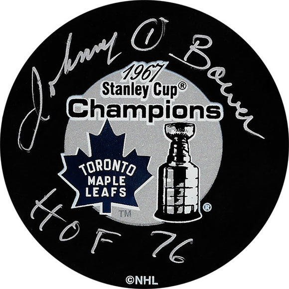 Johnny Bower (deceased) Autographed Toronto Maple Leafs 1967 Champions Puck
