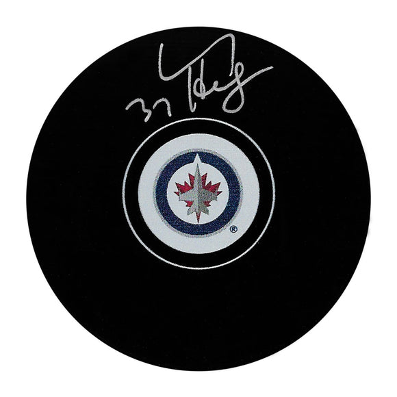 Connor Hellebuyck Autographed Winnipeg Jets Puck