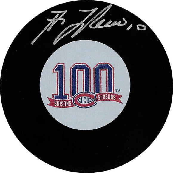 Guy Lafleur Autographed Montreal Canadiens Centennial Puck (100 Seasons)