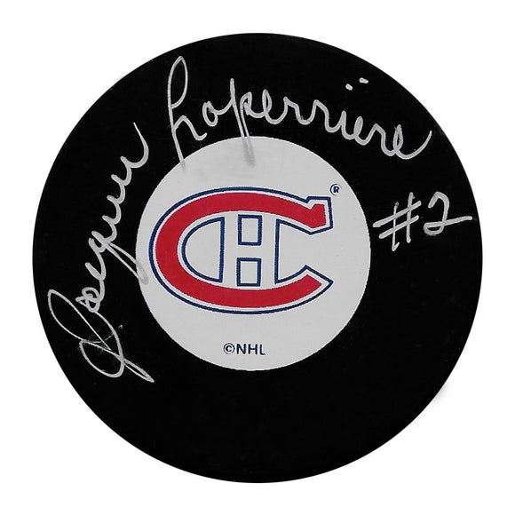 Jacques Laperriere Autographed Montreal Canadiens Puck