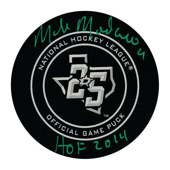 Mike Modano Autographed Dallas Stars Official Game Puck