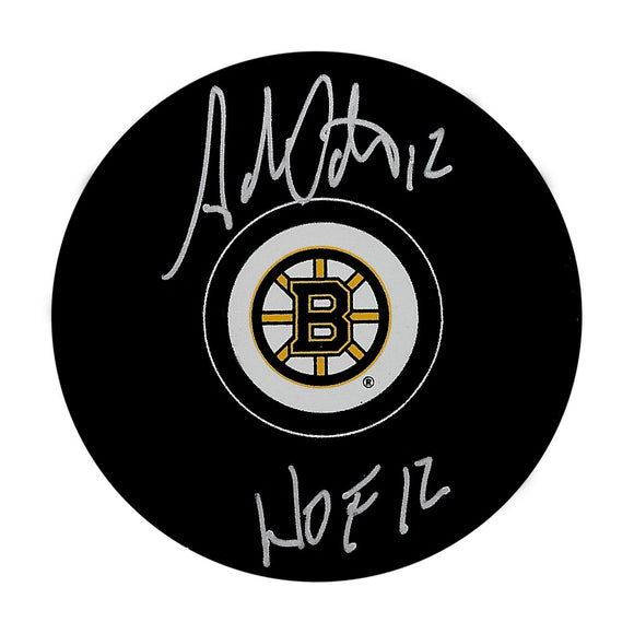 Adam Oates Autographed Boston Bruins Puck