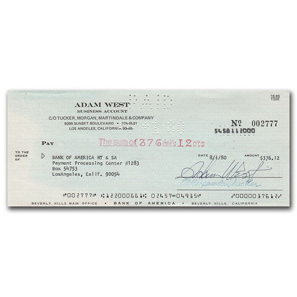 Adam West (deceased) Autographed Cheque