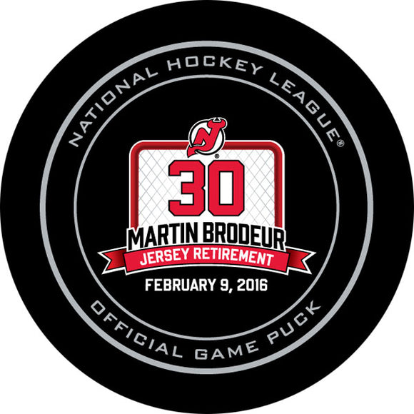 Martin Brodeur Jersey Retirement Night Official Game Puck
