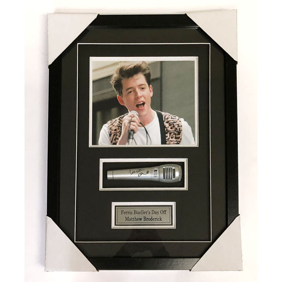 Matthew Broderick Autographed Framed Microphone Display