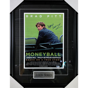 "Aaron Sorkin Framed Autographed ""Moneyball"" 12X18 Poster"