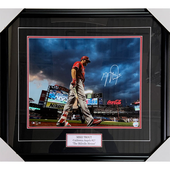 Mike Trout Framed Autographed Anaheim Angels 16X20 Photo