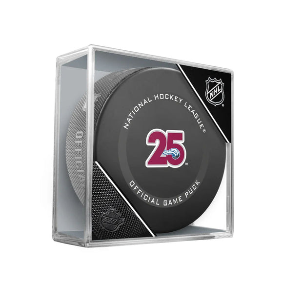 Colorado Avalanche 25th Anniversary Official Game Model Puck