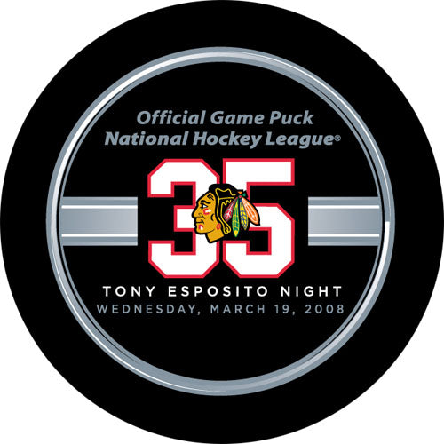 Tony Esposito Night Official Game Puck