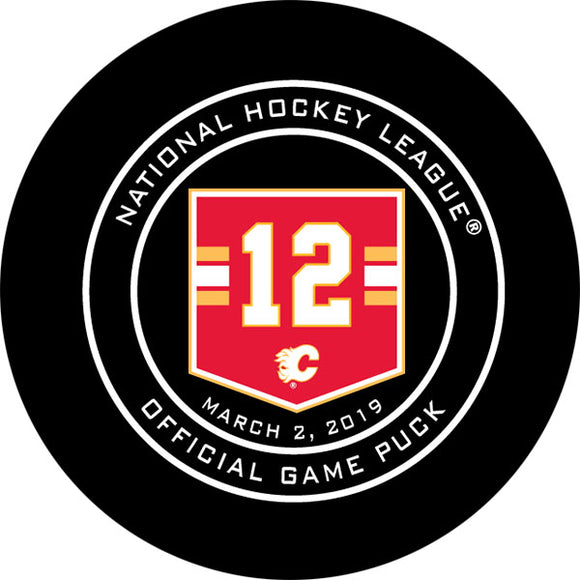 Jarome Iginla Jersey Retirement Night Calgary Flames Official Game Puck