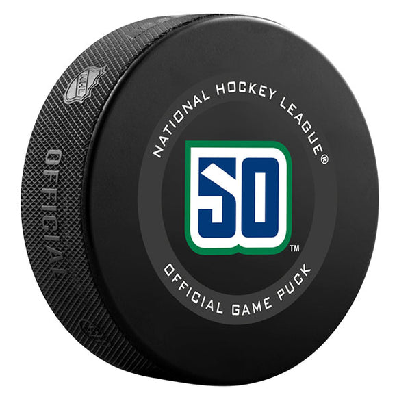 2019-20 Vancouver Canucks 50th Anniversary Official Game Puck