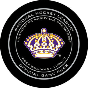 Dave 'Tiger' Williams Night Los Angeles Kings Official Game Puck