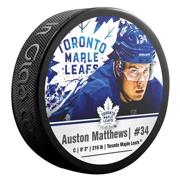 Auston Matthews Toronto Maple Leafs Photo Puck