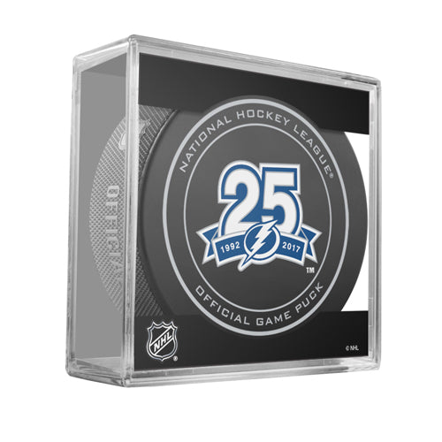 2017-18 Tampa Bay Lightning 25th Anniversary Official Game Model Puck