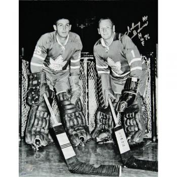Johnny Bower (deceased) Autographed 11X14 Photo (w/Sawchuk)