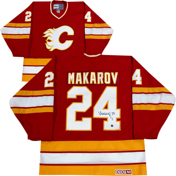 Sergei Makarov Autographed Calgary Flames  Vintage CCM Jersey