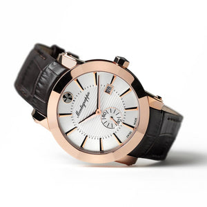 Nerouno Watch , Rose Gold, Silver Dial, Brown Strap