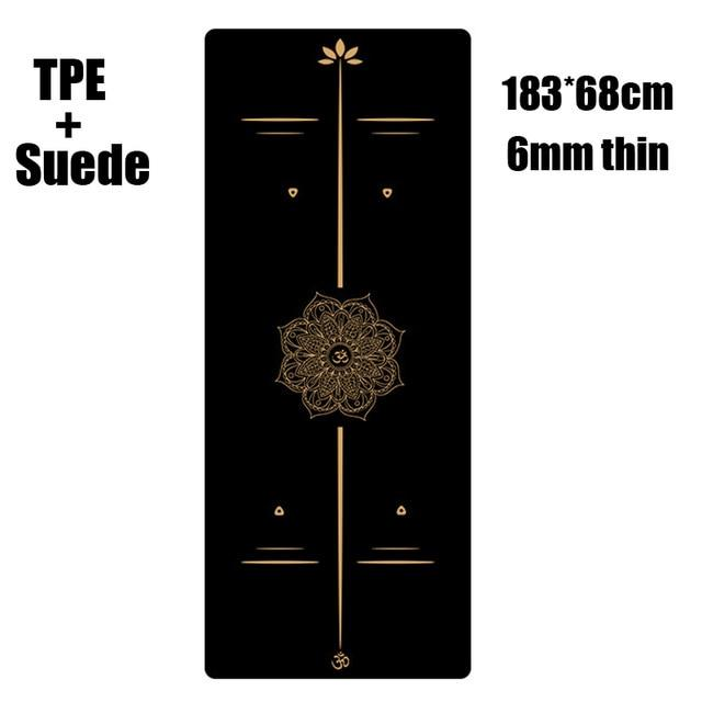 Suede TPE Yoga Mat Fitness Gym Sports Mats Pilates Exercise Pads With Position Line Non-Slip Yoga Mats Absorb Sweat - Smartfatburner.com