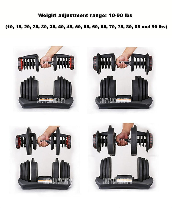 1090 10-90 Pounds Home Adjustable Dumbbell Silicon Steel Sheet Plastic Fast Automatic Adjustment Weight Lifting - Smartfatburner.com