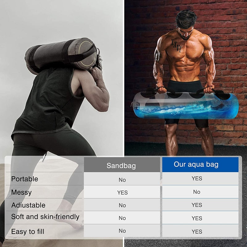 0-75 Pounds Weight Lifting Fitness Aqua Bag Adjustable Water Core Sandbag Weight Training Workout Equipment for Muscle Training