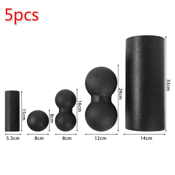 5pcs Fitness Ball Foam Roller Set for Back Pain Self-Myofascial Treatment  Muscle Release Exercises