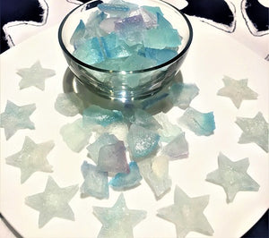 Kanten Crystal Candies 琥珀糖 (Kohakutou) Beautiful clear blue colour  Ingredient: Kanten, sugar, soda, colouring and water