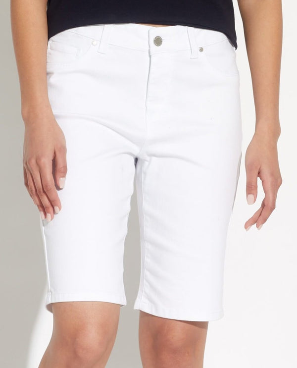 White Denim Skinny Bermuda Short - Workshop - JANE + MERCER