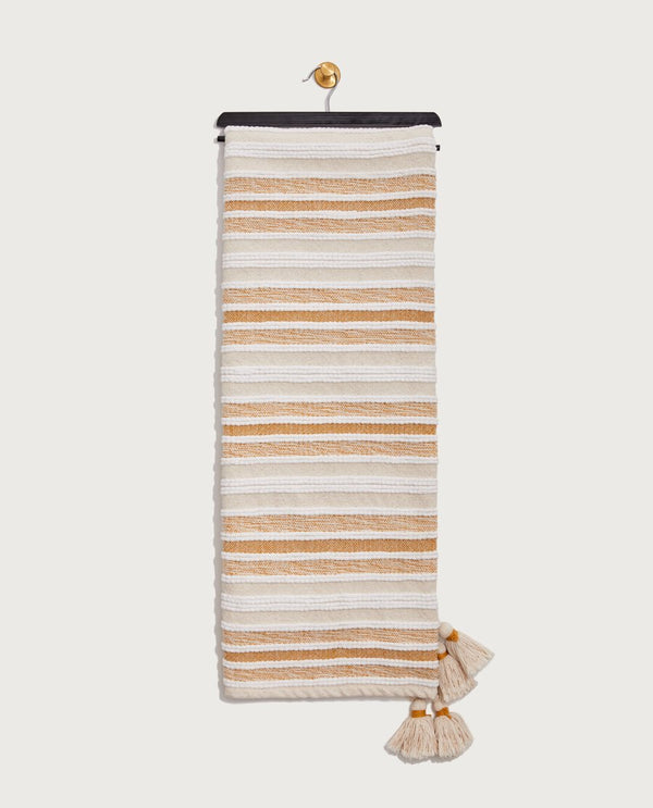 Multitexture Stripe Throw, Creme Brulee/Goldenrod - Magaschoni Home - JANE + MERCER