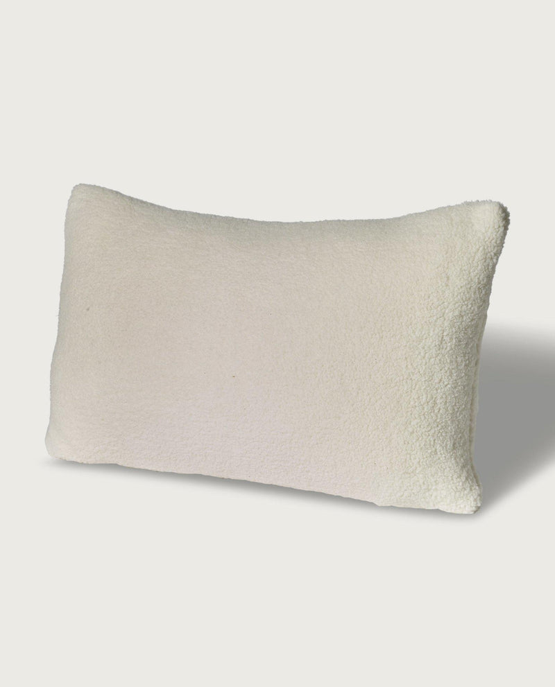 Teddy Faux Fur Lumbar Pillow, Antique White - Magaschoni Home - JANE + MERCER