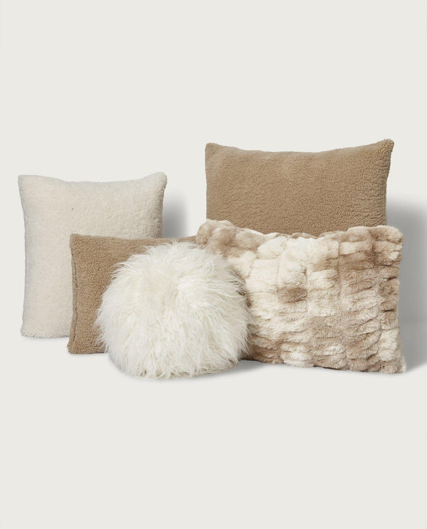 Teddy Faux Fur Lumbar Pillow, Teddy Tan - Magaschoni Home - JANE + MERCER