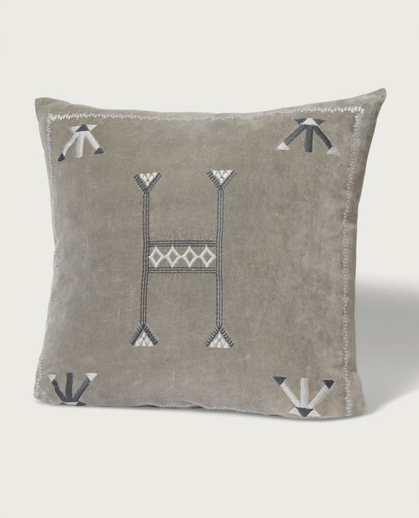 Aztec Velvet Pillow, Grey - Magaschoni Home - JANE + MERCER