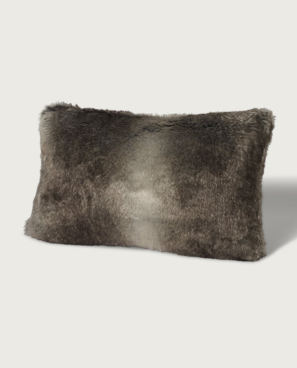 Timberwolf Faux Fur Lumbar Pillow, Grey - Magaschoni Home - JANE + MERCER