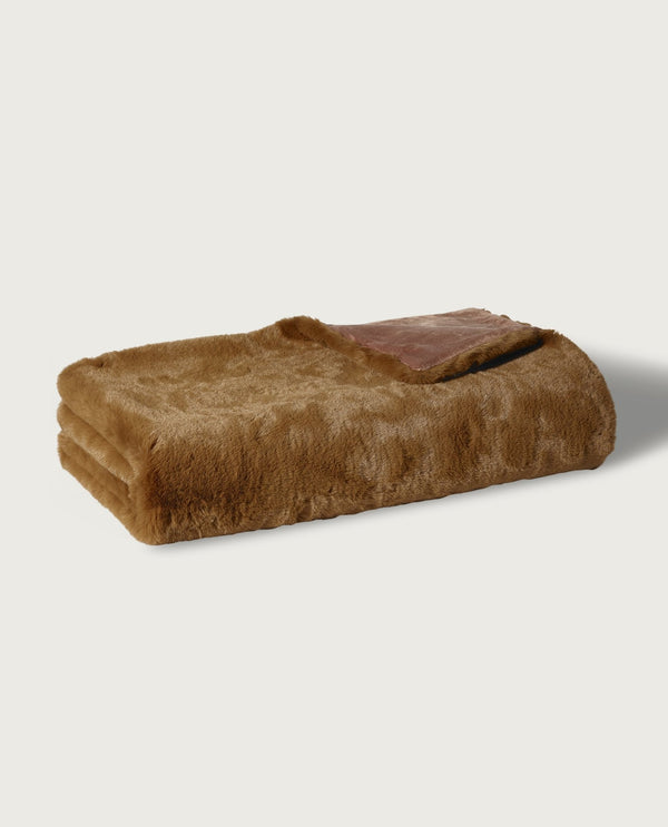 Big Rabbit Faux Fur Throw, Brown Bear - Magaschoni Home - JANE + MERCER