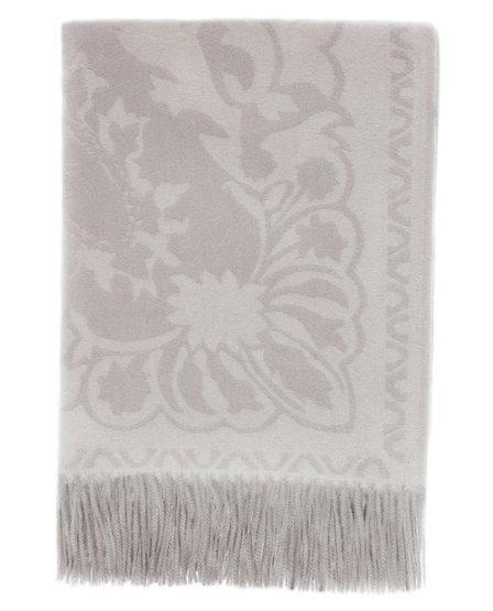 Floral Cashmere Throw, Frost Grey - Magaschoni Home - JANE + MERCER