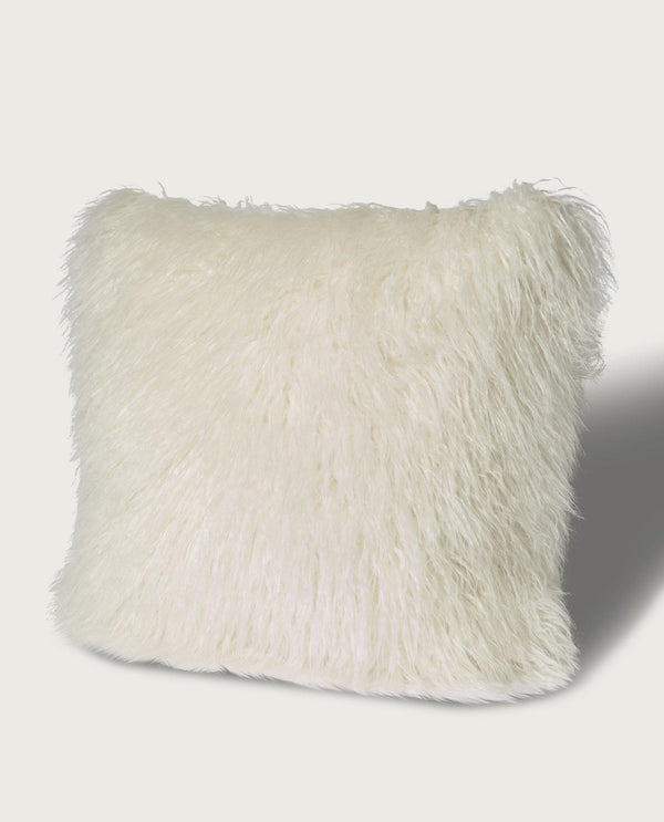 Mongolian Faux Fur Square Pillow, Antique White - Magaschoni Home - JANE + MERCER