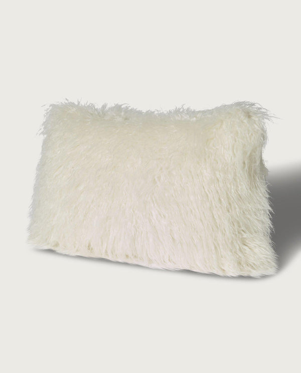 Mongolian Faux Fur Lumbar Pillow, Antique White - Magaschoni Home - JANE + MERCER
